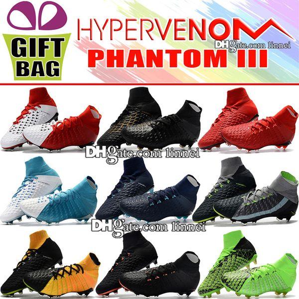 Best Quality 2018 Leather Football Boots High Top Hypervenom Phantom III DF FG Soccer Cleats Mens ACC Socks Hypervenom Soccer Shoes Outdoor