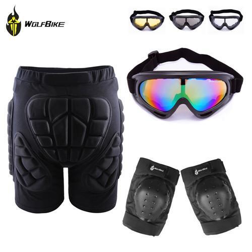 Açık Kayak Skate Snowboard Pateni Kalça Koruyucu Şort + Diz Pedleri + X400 UV Koruma Gözlüğü Gözlük Gözlük