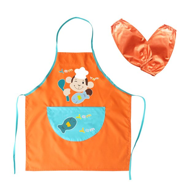 New Kids Apron Waterproof Art Smock Child Apron Oversleeve Cooking Painting Children Gowns Bibs Clothes Drawing With Pockets