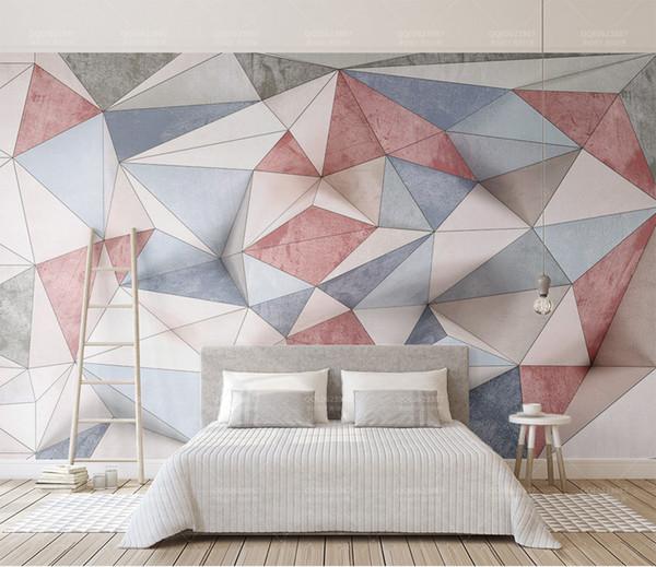 Acheter Détail Personnalisé Rétro 3d Géométrique Triangle Mosaïque Nordique Tv Fond Mur Divers Couleur Triangle Mosaïque Peinture Murale De 32 17 Du