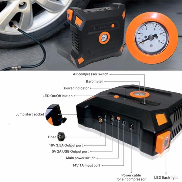 Arrancador portátil del salto del coche de 12V 82800mAh con el compresor de aire incorporado banco del poder de la batería de la salida del USB cargador multifuncional del coche