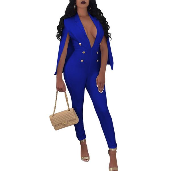 NEW Blue Fashion Office Lay Cloak Long Pants Jumpsuits Women Cape Deep V Neck Bodycon Clubwear Party Jumpsuit Rompers Jumpsuit