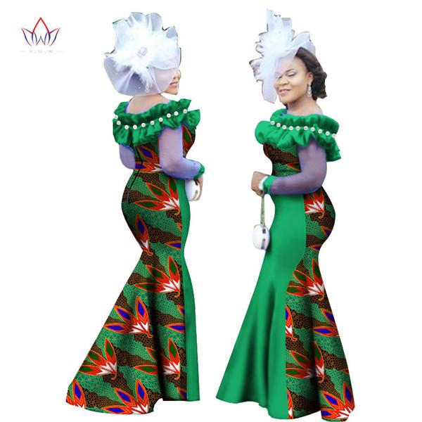 Sonbahar Yeni Stil Kadın Elbise 2017 Afrika Giyim Uzun Kollu Dashiki Kadınlar için Uzun Maxi Elbiseler Artı Boyutu 6XL WY2451