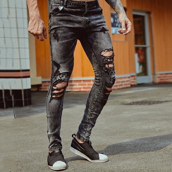 Ripped Hole Jeans Skinny Fit Slim Jeans Men Pantalon Vaquero Hombre Denim Trousers Men Hip Hop Pants Ripped For
