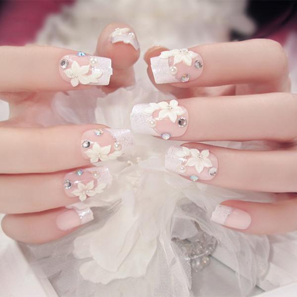 24 adet / takım Pretty Rhinestone Çiçek Gelin Nail Art Tasarım Ön-bitmiş Gümüş Glitter Yanlış Nails Tutkal ile Sahte Ongles Sticker