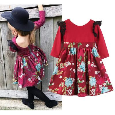 New Baby Girls Floral Dresses Back Zipper Patchwork Kids Toddler Clothes Lace Flying Sleeve Autumn Ruffle Frills Princess Skirts Dress