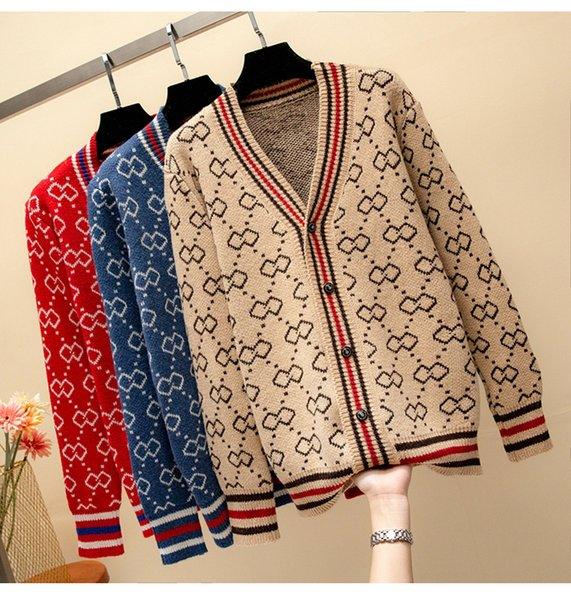 autumn winter Women lady's V-neck button Long Sleeve Cardigan sweater Oversize Luxury korean knitted Female cardie