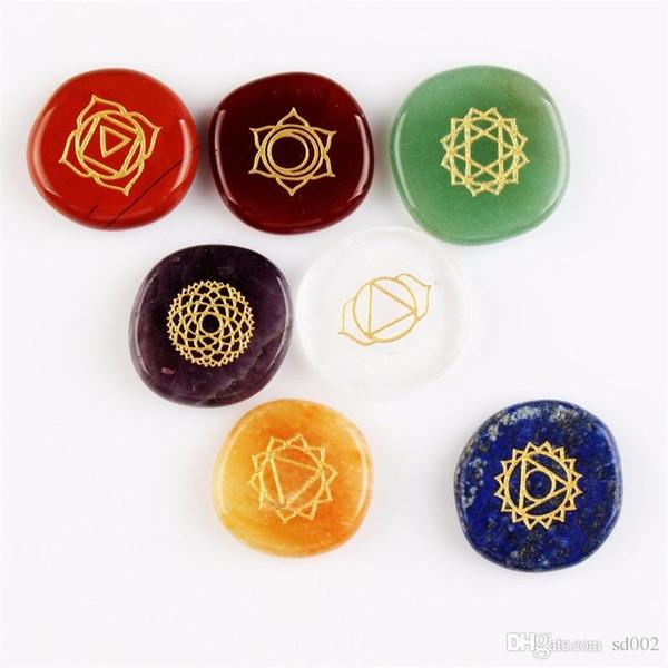 Piedras curativas naturales de la ágata cristalina Reiki Chakras Ágata multicolor India 7 Chakra Stone y minerales para las decoraciones caseras 6 5fg ZZ