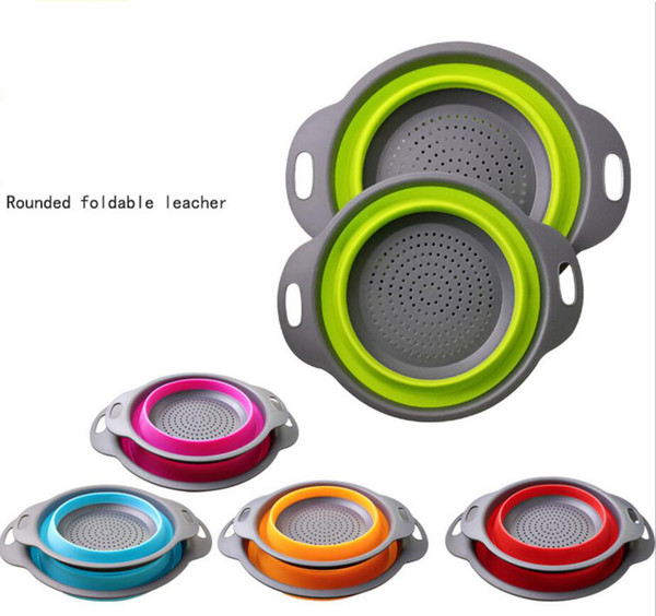 top popular 2pcs set Folding Collapsible Silicone Colander Strainer Kitchen Fruit Filter Basket Fruit Vegetable Colander Other Baby Feeding FFA653 2019