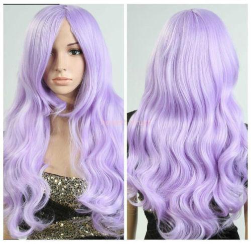 Women Lolita Light Purple Hair Long Wavy Curly Cosplay Party Full Wig