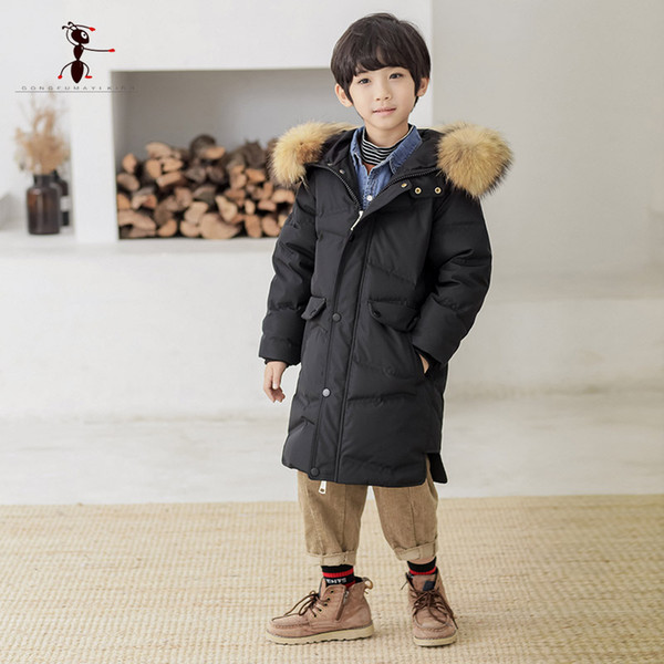 2018 Kung Fu Ant Brand Winter Duck Down Coat for Boys Outwear Fur Hooded Parka Fashion Children Zipper Coats Russia 3296