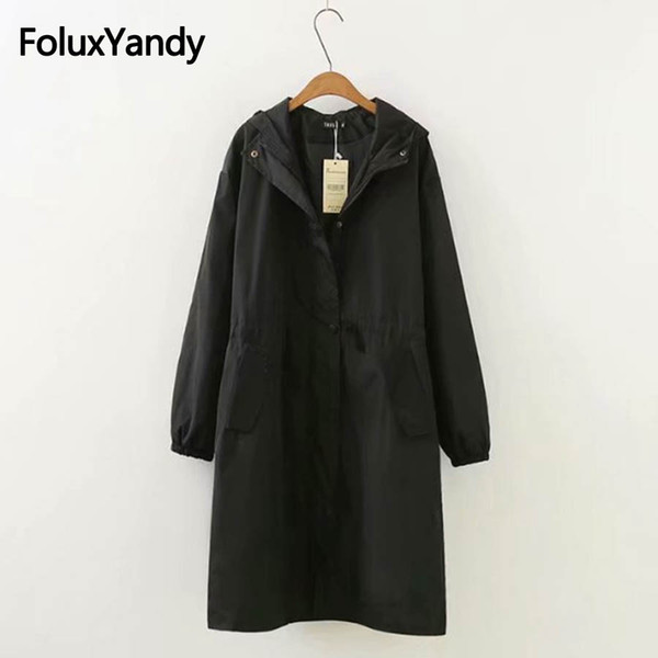 2018 New Autumn Women Trench Coat Hooded Outerwear Casual Loose Long Trench Plus Size 3XL Black KKFY2287