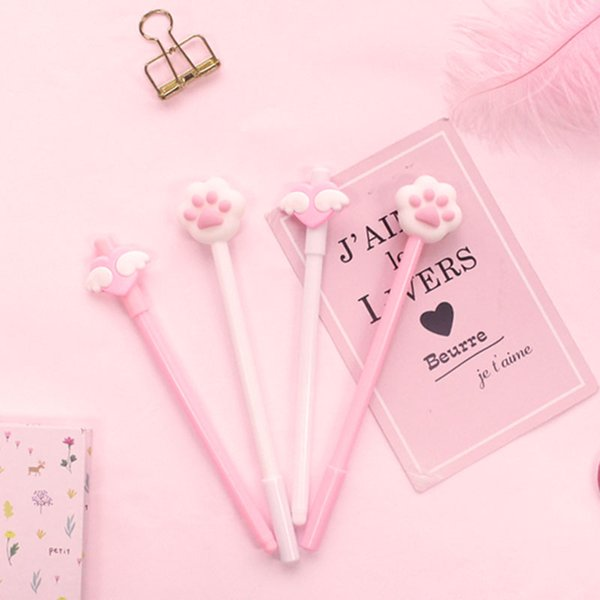 4pcs/Set Kawaii Pink Wing Cat-pad Gel Pen 0.5mm Black Ink Kids Girls School Office Supplies Student Writing Stationery Korean
