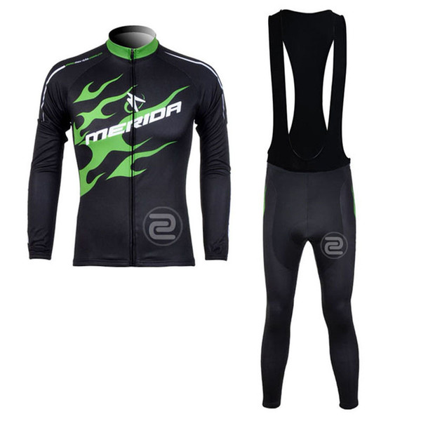 MERIDA men spring autumn Cycling long Sleeves jersey bib pants sets Breathable Cold resistance Slim fit T-shirt 61303X