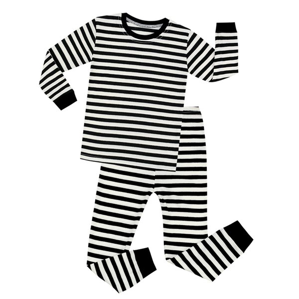 Black and White Cotton Full Sleeve Striped Pajamas Sets Children Pijamas for 1-8 Years Kids Christmas Pajamas Baby Nightwear PJS