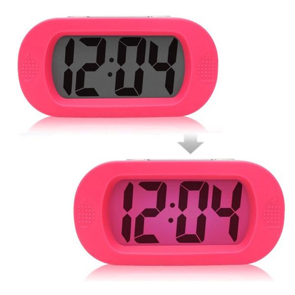 Pink Color Silicon Alarm Desk Clocks Snooze Function, Backlight Led Display Digital Desk Clocks Alarm Nightlight For Girl Gift