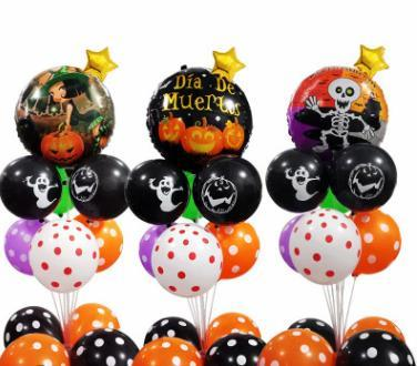 NEW Happy Halloween decoration balloons Party decor backwall decor pumpkins and ghost balloon sets Dancing Skeletons