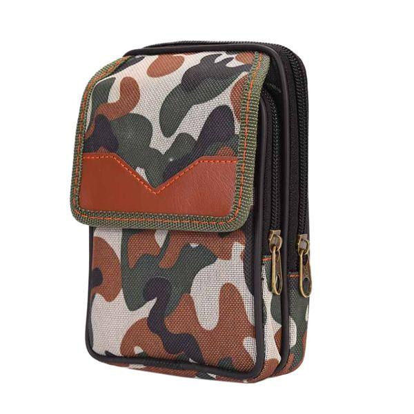 Outdoor Running Large Capacity Waist Bag Vertical Canvas Waterproof Zipper Double Pouches Belt Storage Bags Camping Equipment