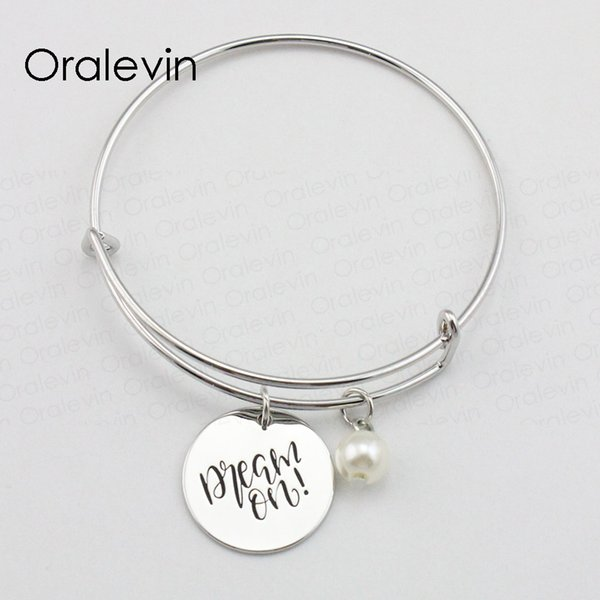 Diy Making DREAM ON Inspirational Hand Stamped Engraved Charm Pendant Expandable Wire Bracelet Bangle Fashion Jewelry,10Pcs/Lot, #LN1925B