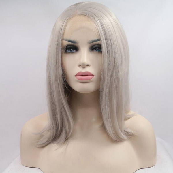 Silver Grey Short Bob Wigs Short Straight Synthetic Lace Front Wig Heat Resistant Fiber Hair Synthetic Bob Lace Wigs For Black Women