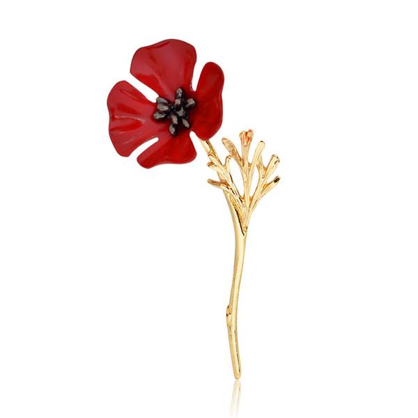 Golden Silver Poppy Flower Brooch Pins For Women Men Shirt Collar Hat Backpack Lapel Pin Red Enamel Breastpin Vintage Broach Jewelry Cheap