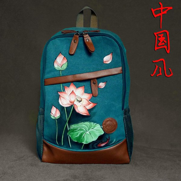 New original hand-painted canvas bag Chinese national wind retro style art Sen female backpack