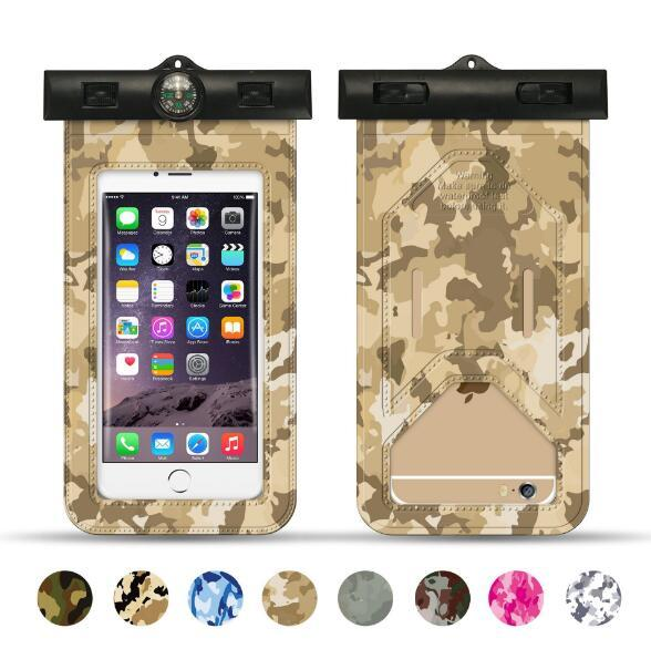 For Samsung S5 S6 S7 S8 Camouflage Universal Waterproof Underwater Mobile Phone Bag Pouch Case For iPhone X 8 6 6S 7 Plus 5 5S