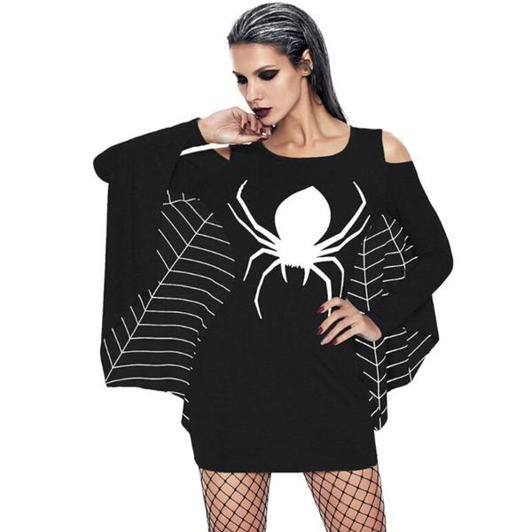 Мода Хэллоуин костюмы для женщин черный и Белый паук печатных мини-платья большой размер производительности косплей одежда