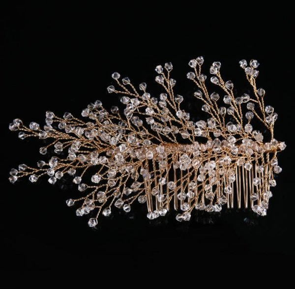Bridal Crystal headwear, copper wire, gold comb, hair set, wedding dress, accessories.