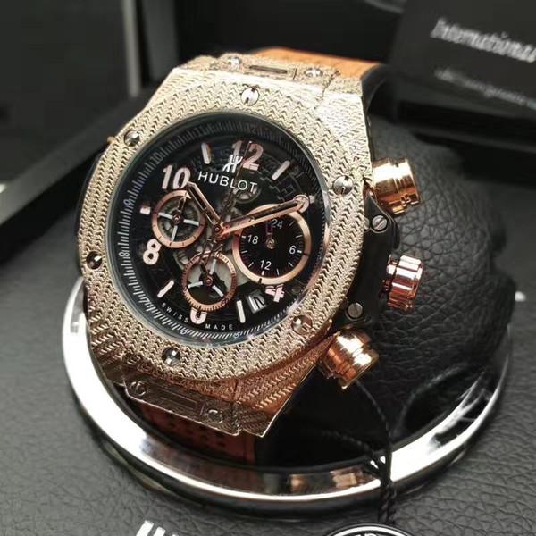 Swiss HBOT brand Men's Watches The classic Lassa process 6 pin run seconds fashion luxury Watches AAA clock HB Relogio Stopwatch wristwatch
