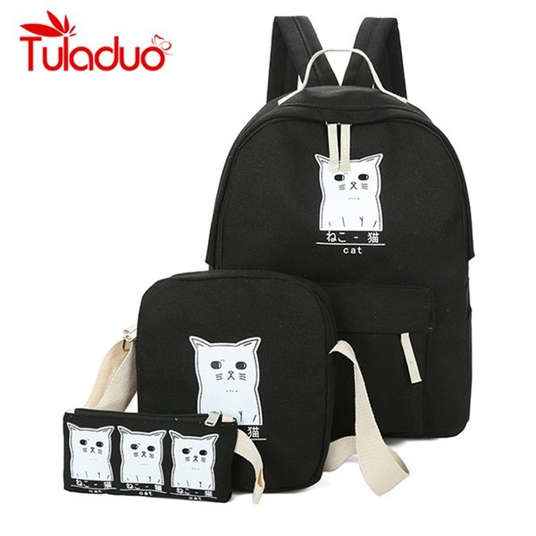 ute book bags Women Backpack Cat Printing Canvas School Bags For Teenager Girls Preppy Style 3 Set/PC Rucksack Cute Book Bag Mochila Femi...