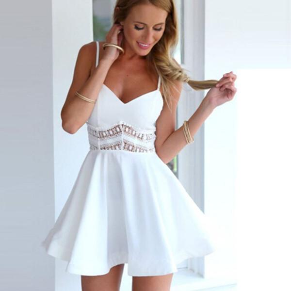 Skater Dress Crochet Lace White Black Women Vestidos Sexy Summer Strap V Neck Waist Casual Party Mini Short Dresses