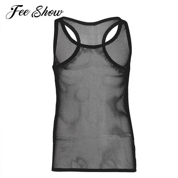 Wholesale- Sexy Mens Lingerie Fishnet See-through Vest Tank Top Clubwear Undershirt Gay Men Lingerie Fishnet Sleeveless Mesh Openwork Vest