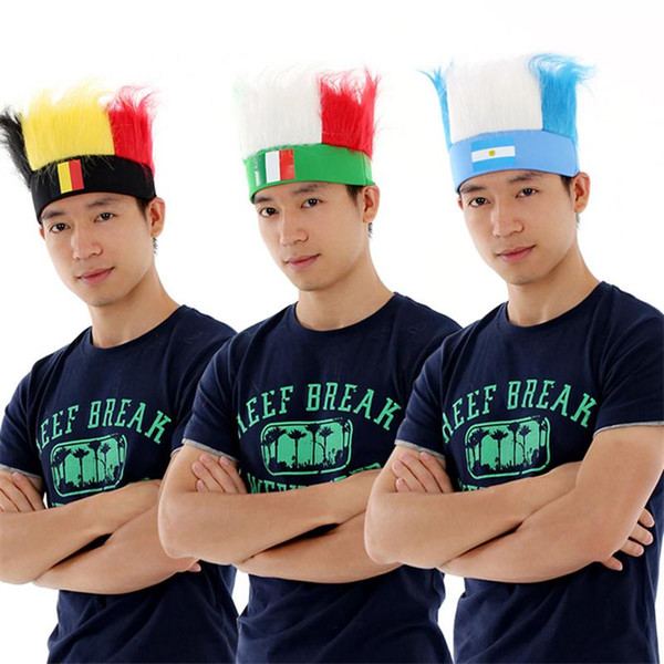 best selling Hot Sale National flag Headwear World Cup Football Fans Hats For Unisex color Wig Ployester football headband