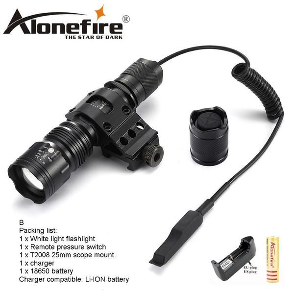 AloneFire TK104 CREE L2 LED torche tactique chasse en plein air lanterne de camping par 18650 Télécommande pour montage sur batterie