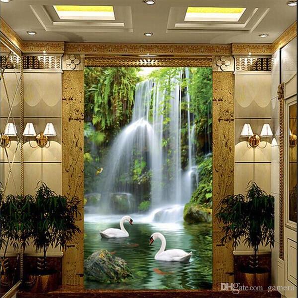 Wholesale- photo wallpaper Swan Lake 3D stereoscopic landscape waterfall landscape corridor restaurants large mural green wall paper mural