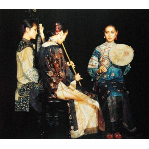 Chinese ancient young girls Trio Pipa and flute players High Quality Handcrafts /HD Print portrait Oil painting canvas Multi sizes p159