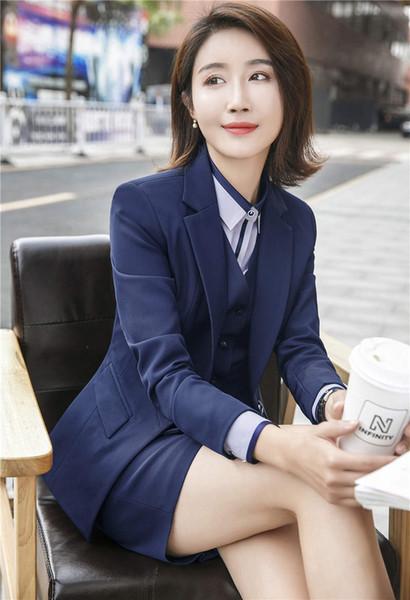 Professional Women Suit Set Office Uniform Designs Ladies Blaser Ladies Business Skirts Suits Female Blazer Jacket