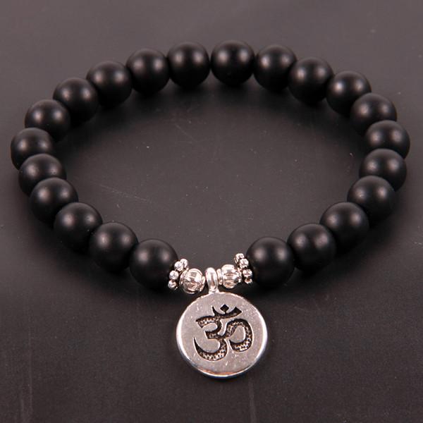 NCRHGL Heißer Verkauf Lava / Onyx Naturstein Armband LOTUS / BUDDHA / OHM Charme Armreifen 8mm Perlen Yoga Armbänder Schmuck Für Frauen Männer