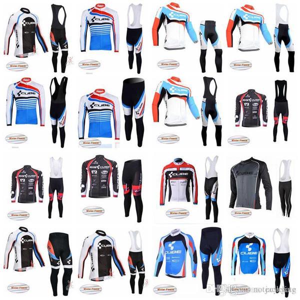 CUBE team Radfahren Winter Thermische Fleece jersey (latz) hosen sets Quick dry Outdoor MTB Fahrradbekleidung ropa ciclismo hombre D1702