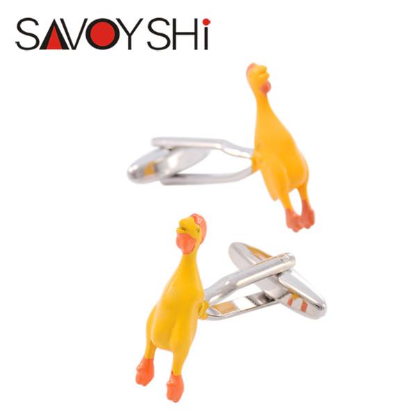 SAVOYSHI Brand Screaming Chicken Cufflinks for Mens High Quality Novelty Enamel Animal Cuff Links Fashion Gift Jewelry Design