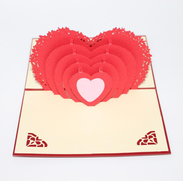 Wedding Greeting Card 3D Love Heart Postcard with Envelope for Valentine Day Birthday Greeting Card Romantic Gift