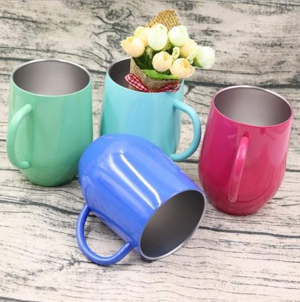 best selling 9oz Stainless Steel Egg Shaped Glass Coffee Cup Shell U-shaped Insulation Egg Mug Cup with Handle Thermo Mug 4 Colors 2pcs OOA4294