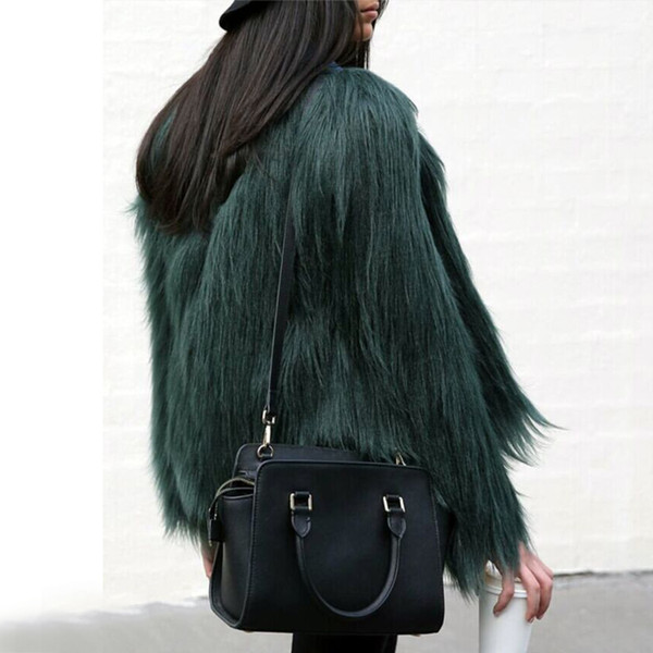 Atacado-Moda Inverno Mulheres Casaco De Pele De Alta-grade Mulheres Desgrenhado Casaco De Manga Longa Macia Da Pele Do Falso Fourrure Feminino Plus Size Outerwear Pele