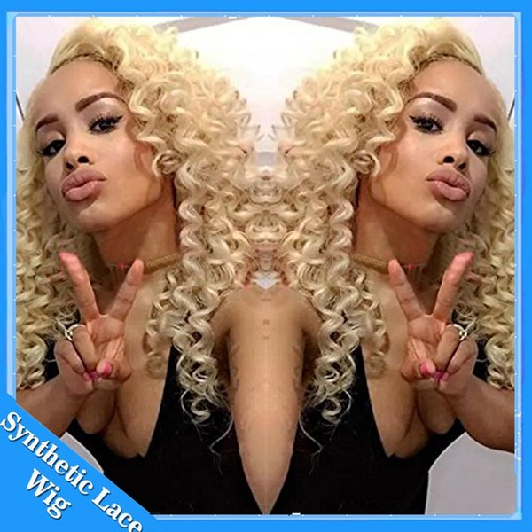 Cosplay perruque Afro Crépus Bouclés Naturel À La Recherche Blonde # 613 Couleur Synthétique Dentelle Perruque Résistant À La Chaleur Dentelle Avant Bouclés Synthétiques Perruques