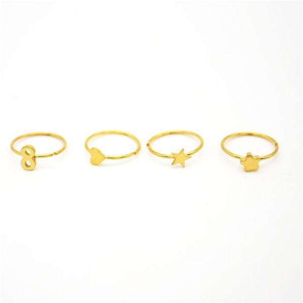 18K Gold Hoop Nose Ring Star Infinity Ear Stud Cartilage Tragus Septum Lip Eyebrow Stud Ear Cuff 22G 8mm Flower Heart Wholesale