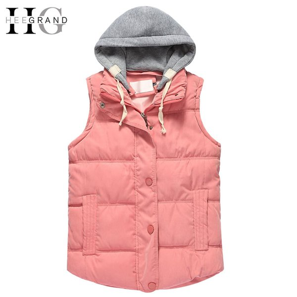 HEE GRAND 2016 Warm Autumn Chalecos Mujer Zipper Removable Hooded Women Vests Fashion 10 Color Winter Outwear Coats 4XL WWV313
