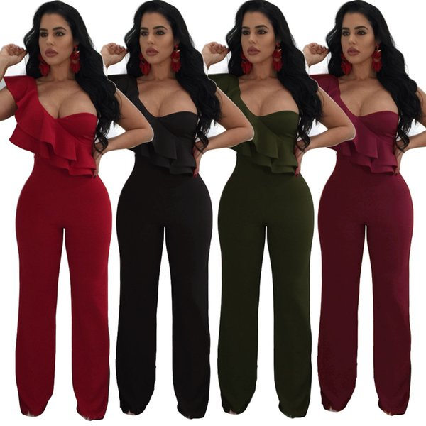 2019 Sexy One Shoulder Ruffles Tiered Women Long Party Jumpsuits High Quality Real Picture Sleeveless Wide Leg Women Pants Suits 4 Colors