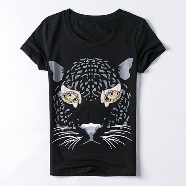 Kadın Tee kadın T Shirt Pamuk Kısa Kollu T Gömlek Kaplan Kafası Desen Vahşi Ince Yaz Eğlence Moda Sıcak Yüksek Kalite X016