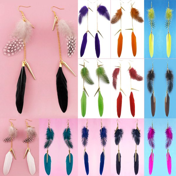 Feather Earrings 12 Colors wholesale lots Golden Accessory Chain Light Dangle Eardrop New (Teal Brown Blue Yellow Green Orange White)(JF294)